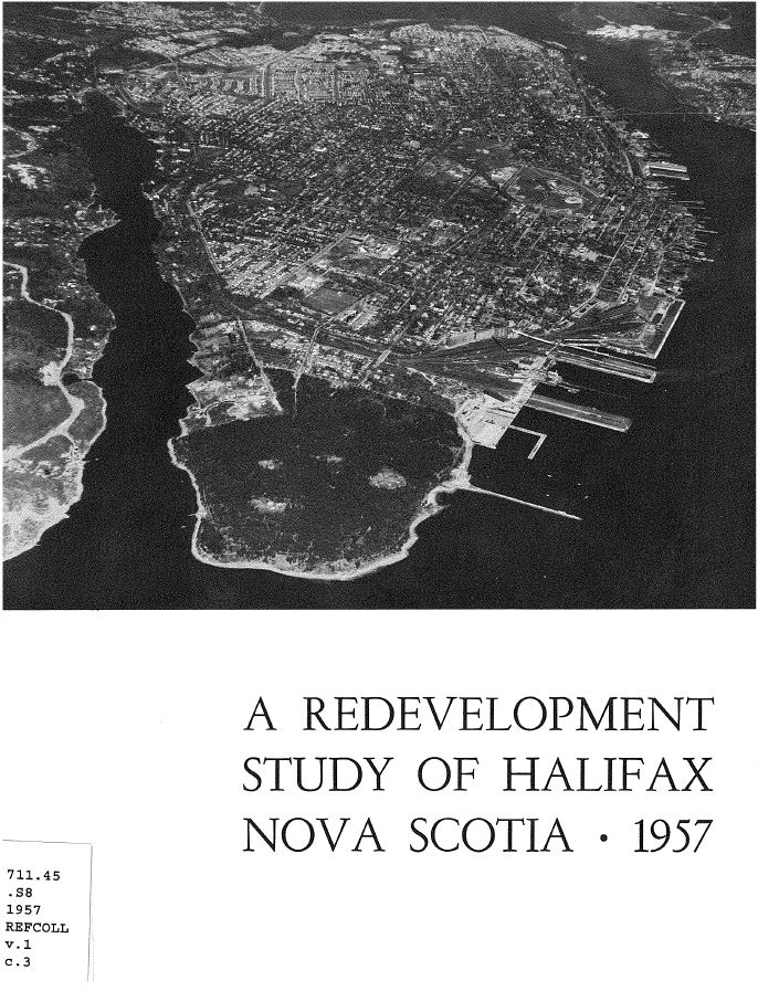 Black and white photo cover of report with an aerial view on front