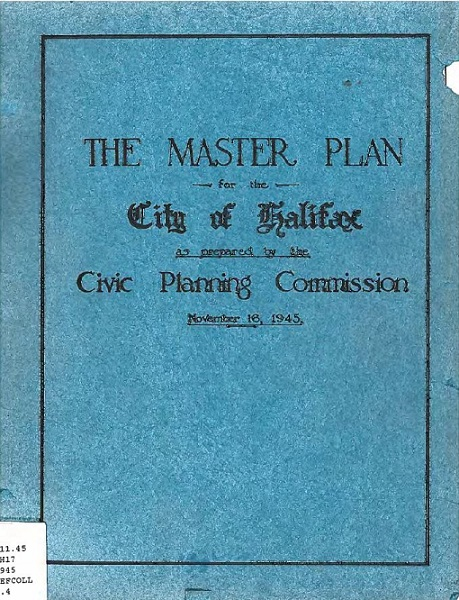 "Colour photo of cover ""The Master Plan of the City Of Halifax"""