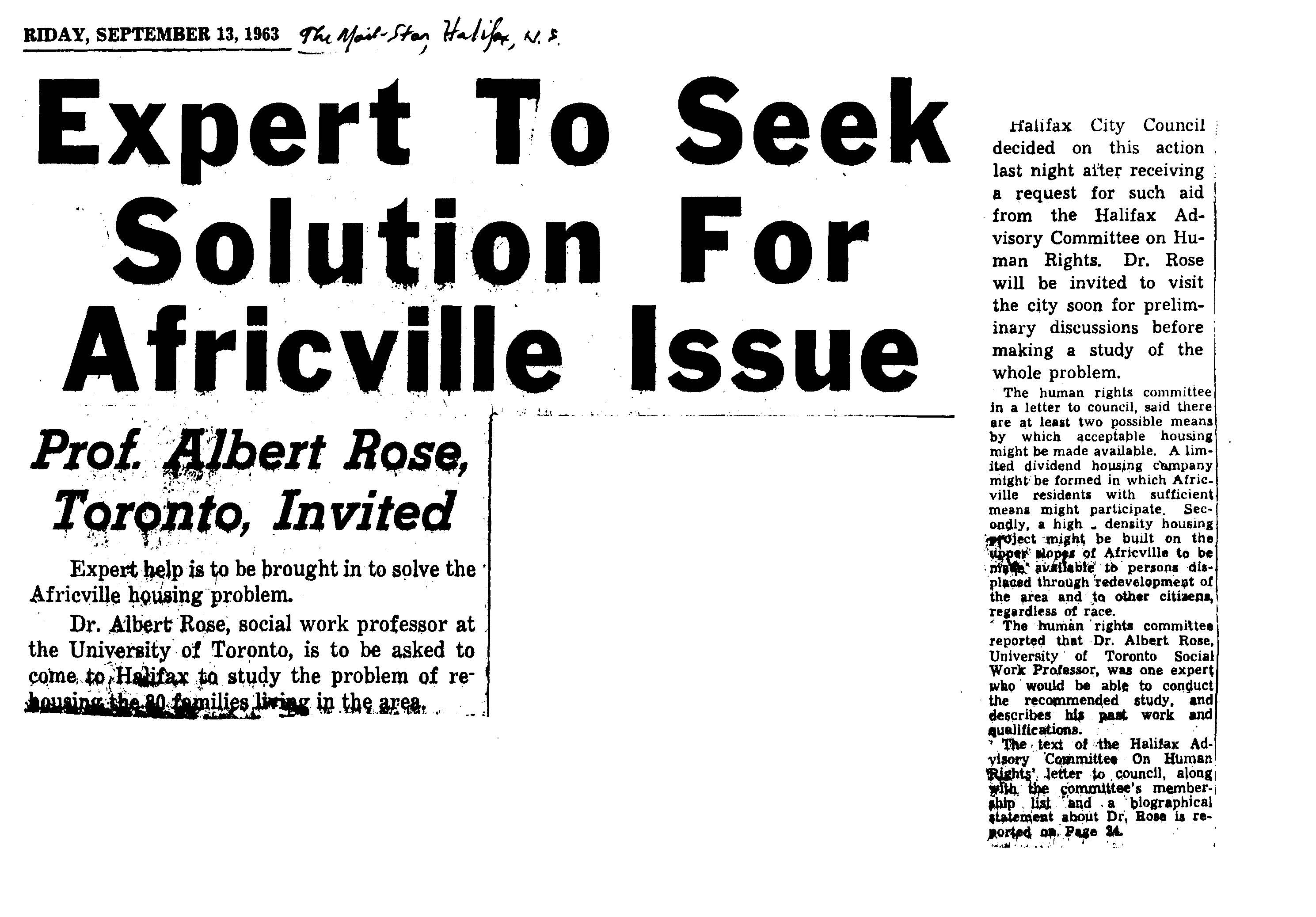 "Black and white copy of newsclipping with headline ""Expert to Seek Solution for Africville Issue – Prof. Albert Rose, Toronto, Invited"""