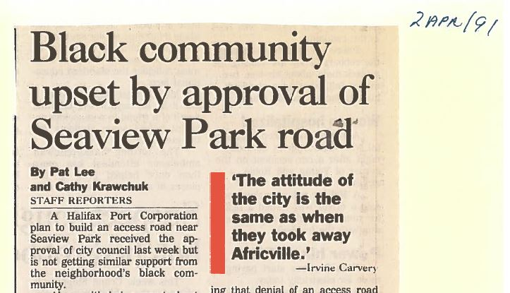"Colour photo of news clipping with headline ""Black community upset by approval of Seaview Park road""."