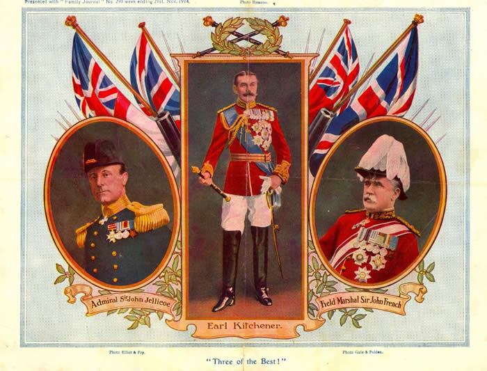 "Colour photo called ""Three of the Best"" showing Admiral Sir John Jellicoe, Earl Kitchener and Field Marshal Sir John French."