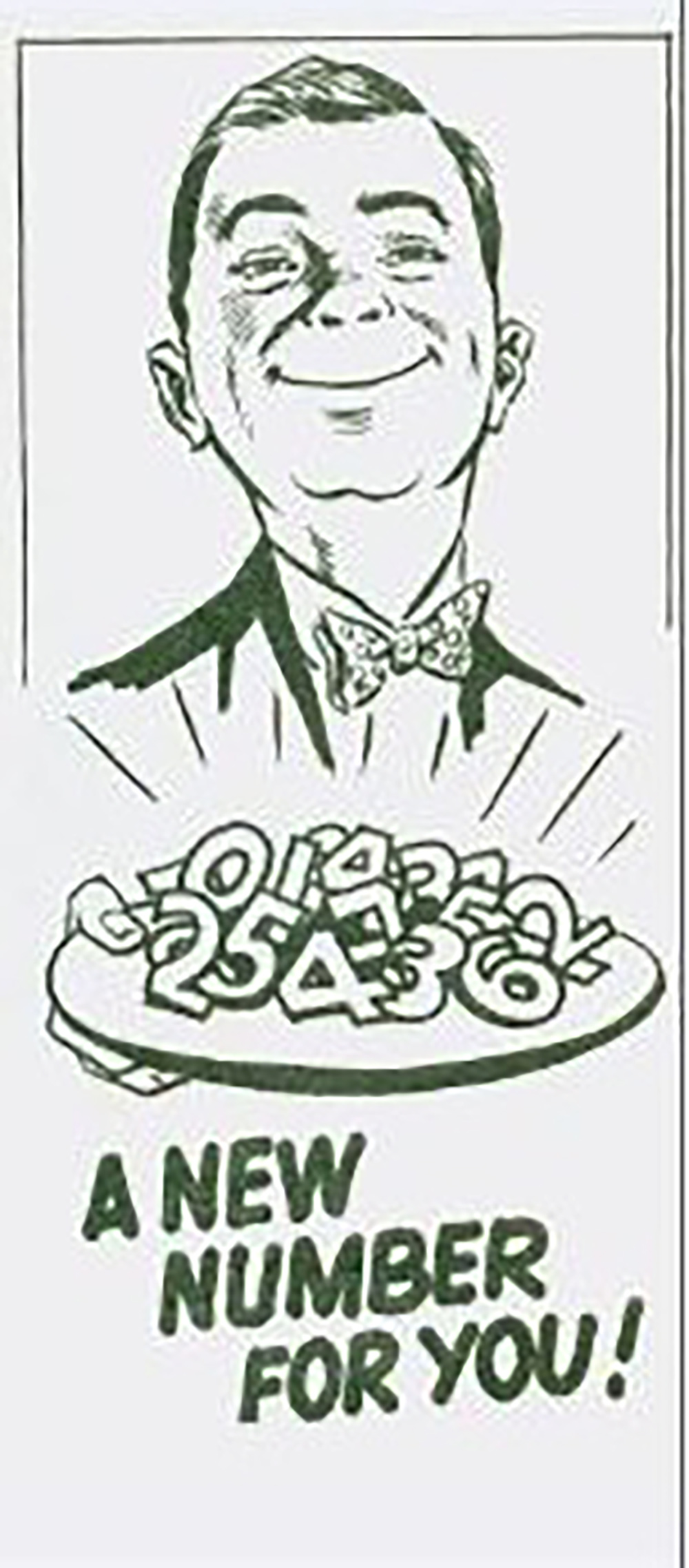 "Digital scan of publicity file from 1960s City of Halifax program to change civic address – shows a butler holding a tray of numbers with text ""A New Number for You!"""