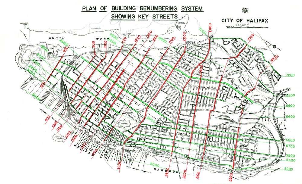 Plan of peninsular Halifax showing the new building renumbering system with the civic address delineated in red.