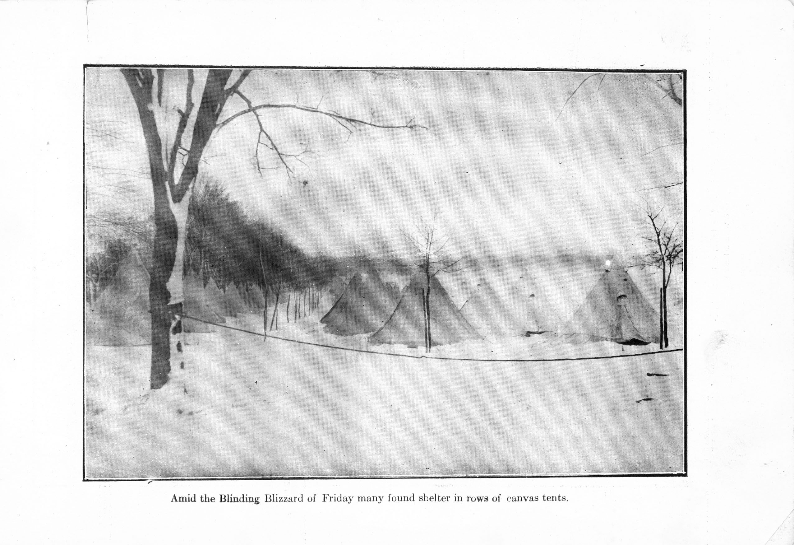"Black and white photo of rows of canvas tents in the snow, with caption ""Amid the Blinding Blizzard of Friday many found shelter in rows of canvas tents"""