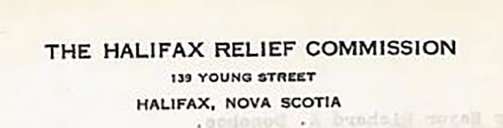 Black and white photo of letterhead of The Halifax Relief Commission 139 Young Street, Halifax, Nova Scotia.