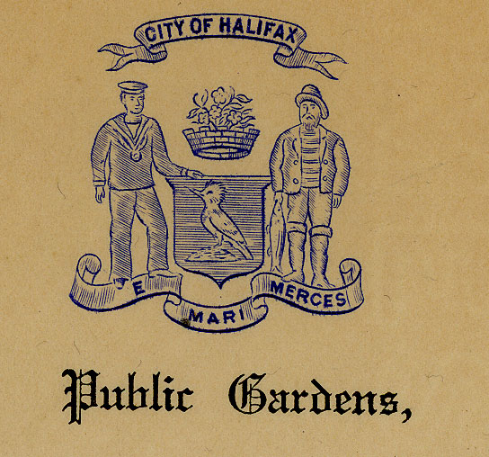 Sepia photo of Public Gardens letterhead under City of Halifax crest.