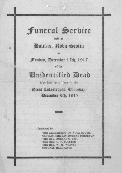 Black and white photo of cover of funeral program