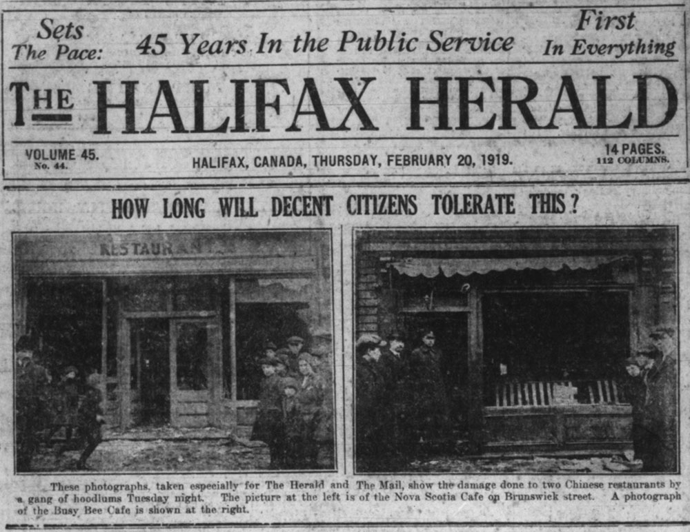 "Black and white photo of newspaper headline ""How Long Will Decent Citizens Tolerate This?"" With images of damaged café storefronts."