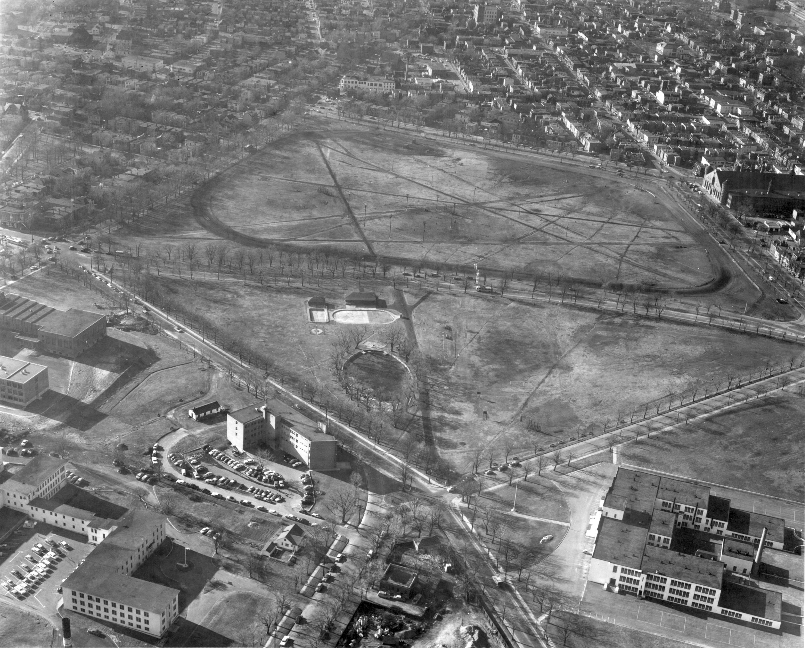 Black and white aerial view of the North Commons