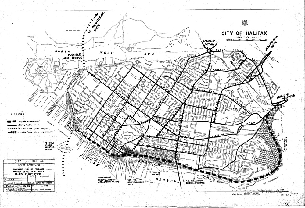 Black and white photo of a plan showing the possible route and future road improvements if approved.