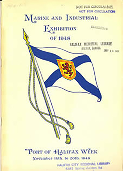 colour image of front cover of program for Marine and Industrial Exhibition of 1948 _ Port of Halifax Week November 14 to 2oth, 1948