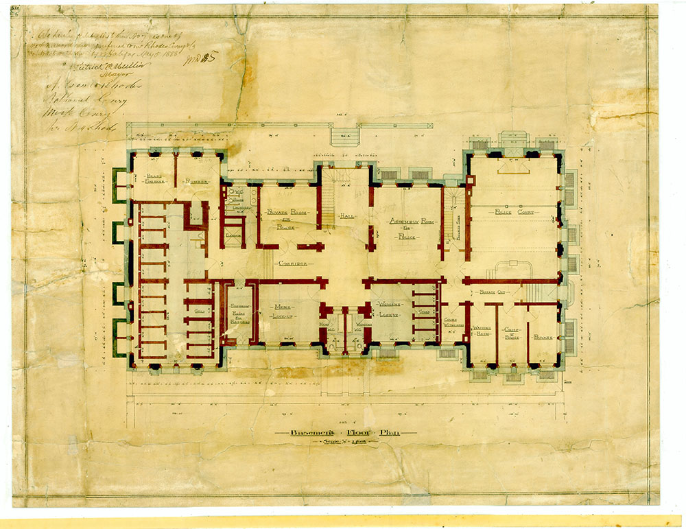 Colour copy of architectural plan showing layout of Police Department offices