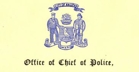 Letterhead from the City of Halifax Office of Chief of Police