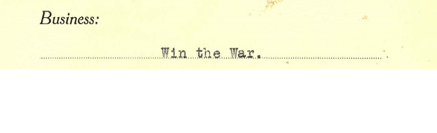 Colour copy of subject line on invitation: Win the War.