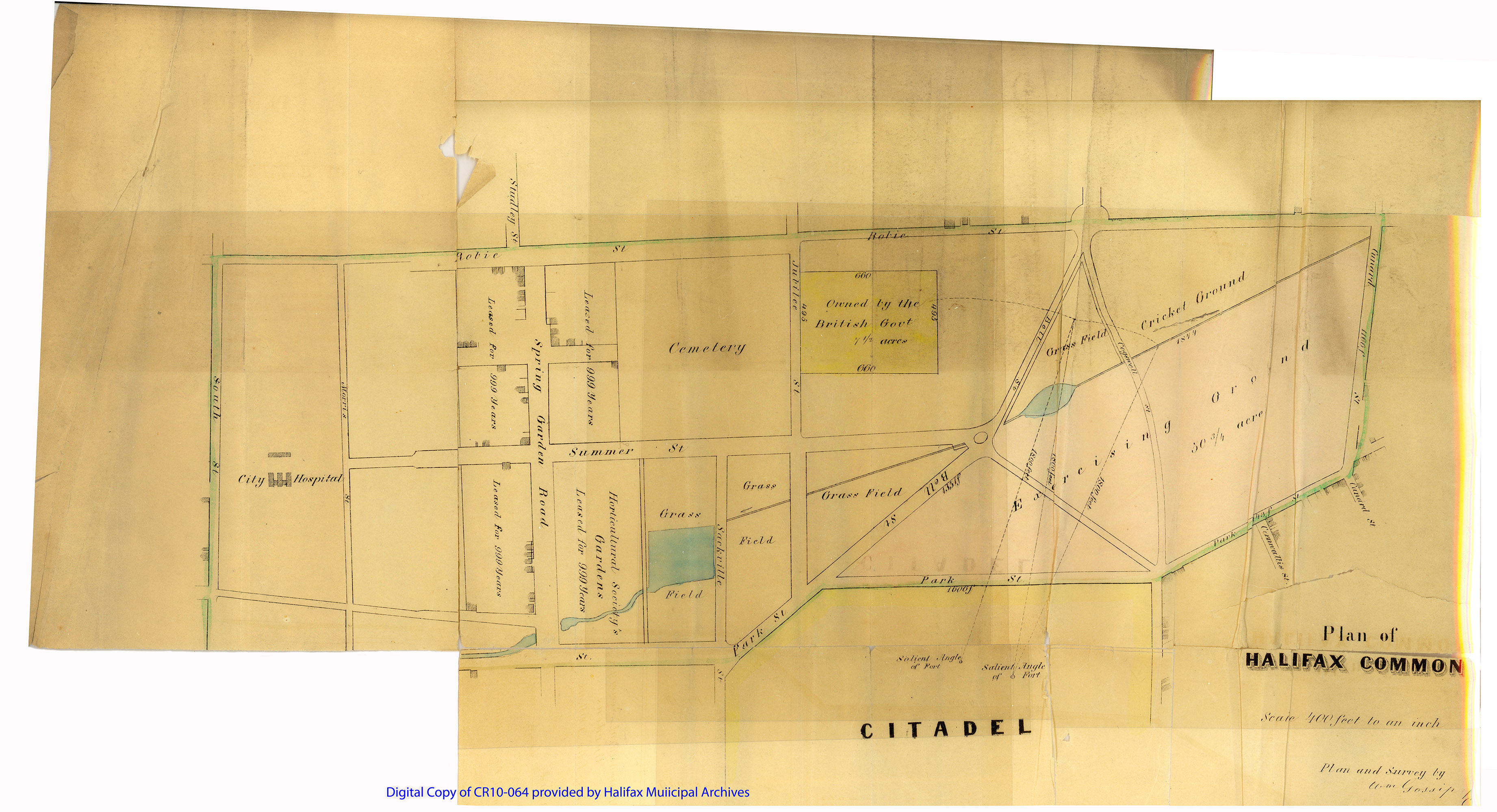 Digital copy of plan of Halifax Common showing its boundaries between Robie, Cunard, Park and South Streets.
