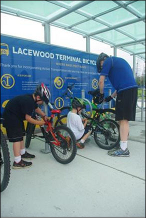 Bicycle repair facility at Lacewood Terminal