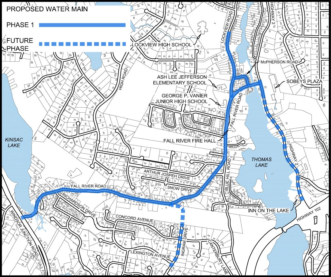 Fall River Water Main Extension Project, Phase 1 Map