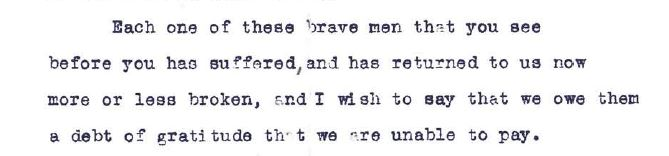 Excerpt from a draft of a speech by Deputy Mayor Colwell in recoginition of returning servicemen.