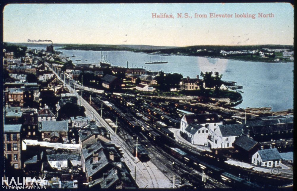 Colour postcard of Halifax pre-explosion