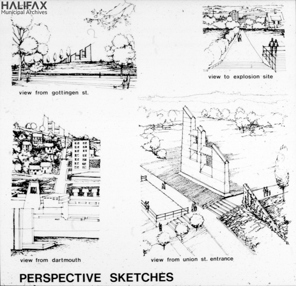 Black and white architectural sketches of a monument