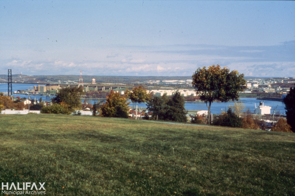 Colour photograph of a field with hoses and Halifax harbour in the background
