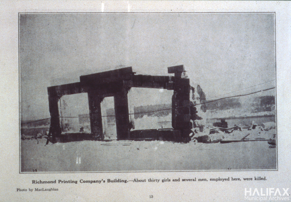 Black and white photograph of a ruined building