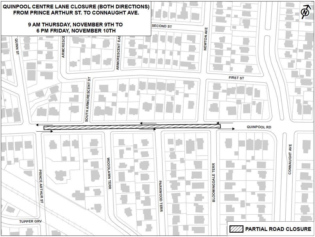 Road Closure Quinpool Road - Work Zone Map