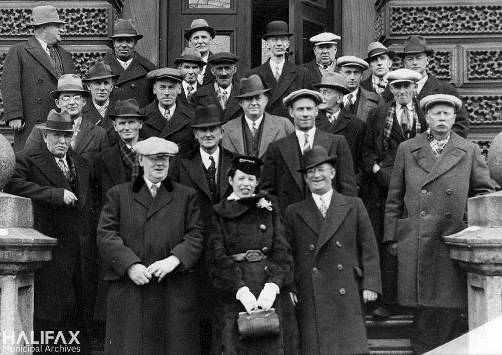Black and white photograph of a group of councillors, 1940s