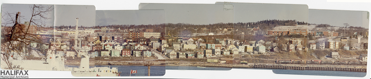 Panoramic montage of colour photos showing Dartmouth from the Halifax Harbour