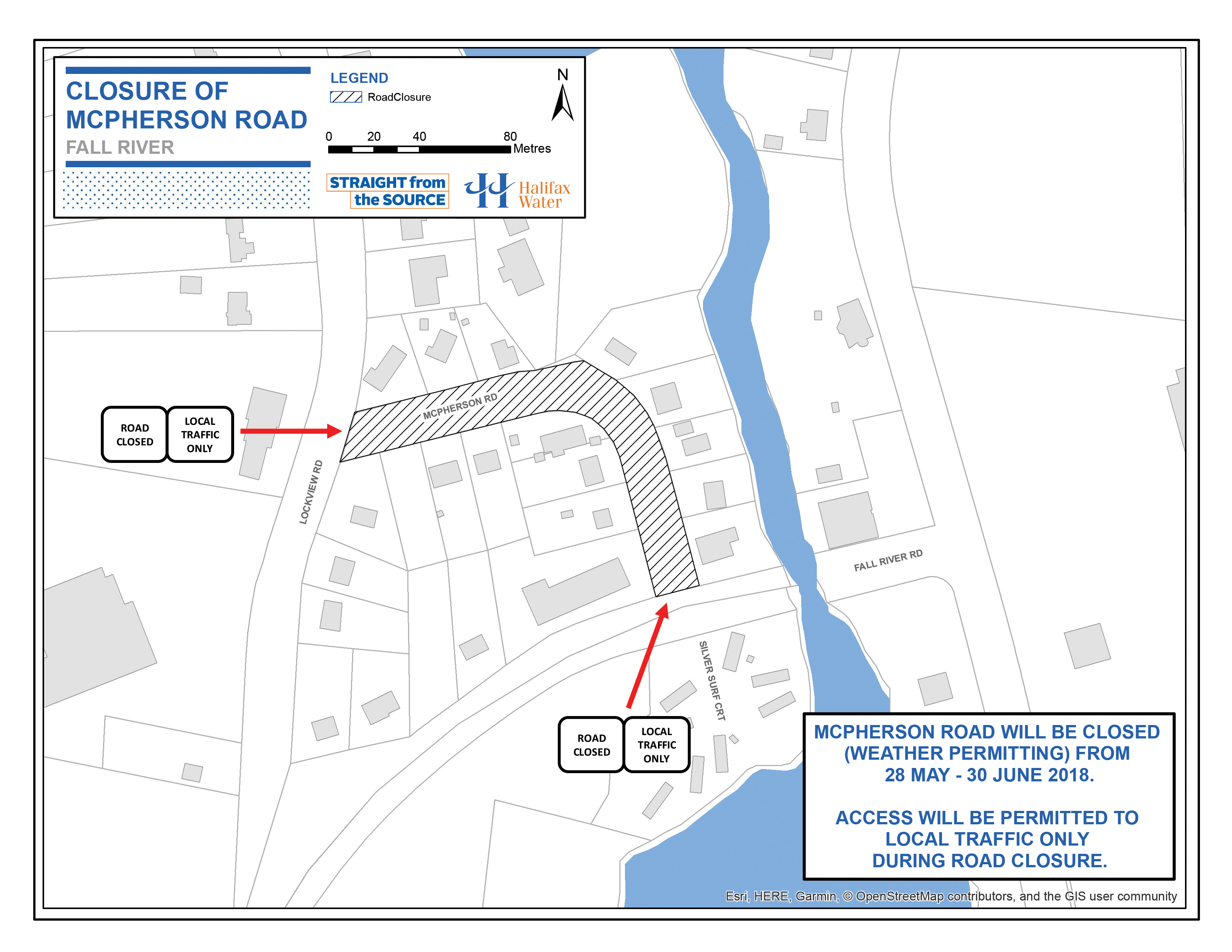 Map of road closure area.