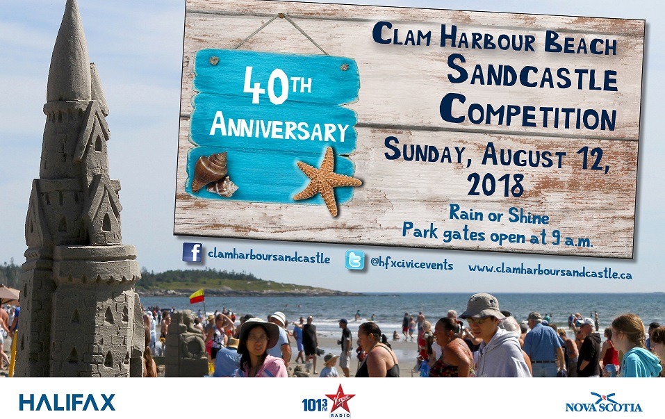 A photo of a sandcastle announcing the Clam Harbour Beach Sandcastle Competition on August 12
