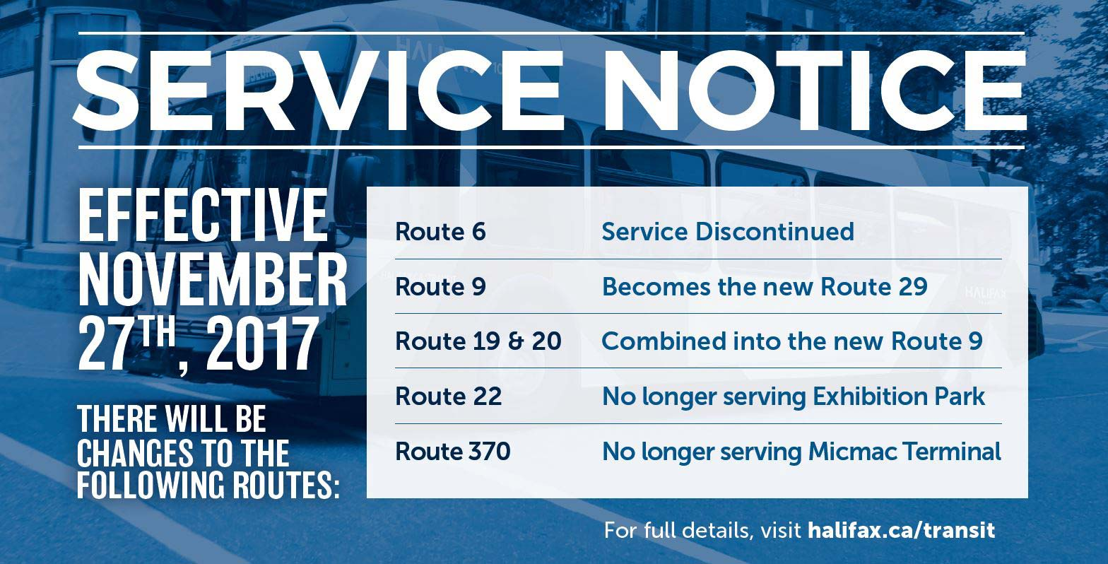 Service Adjustments Effective November 27th, 2017