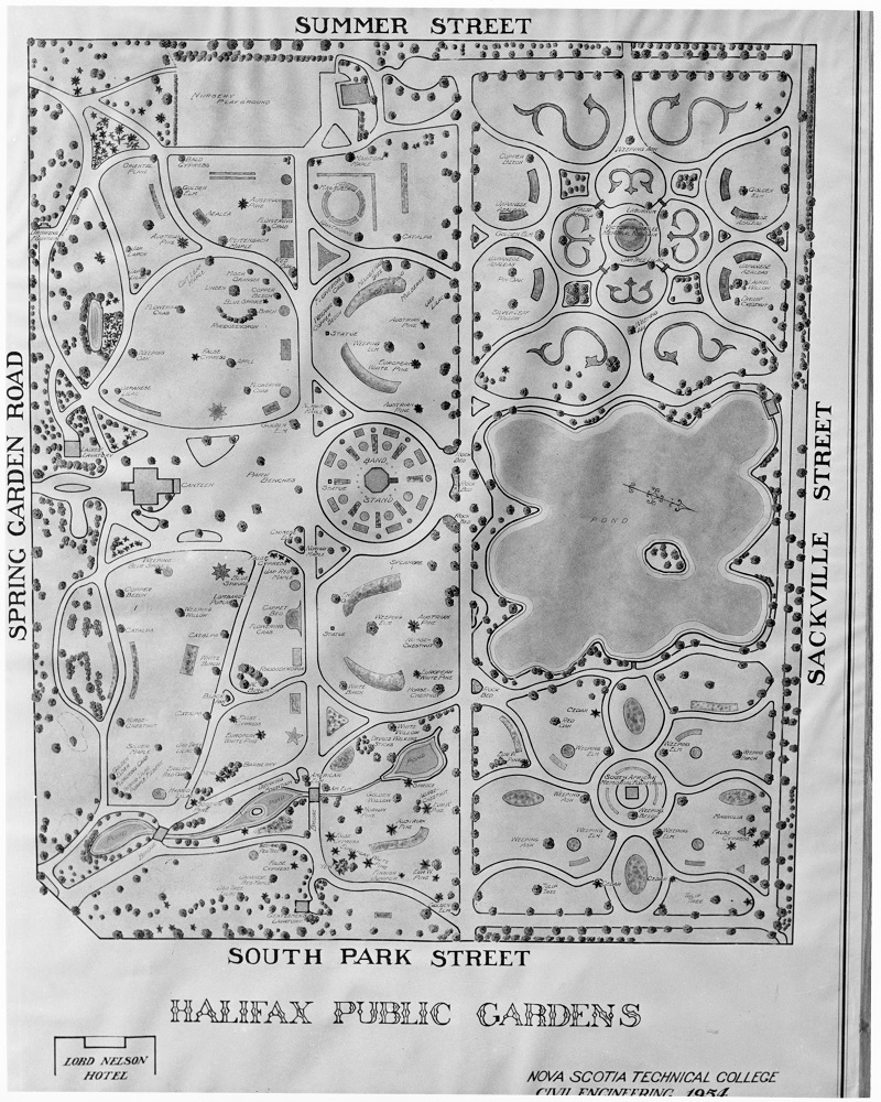 Black and white technical drawing showing the layout of the Public Gardens, including pathways and other features
