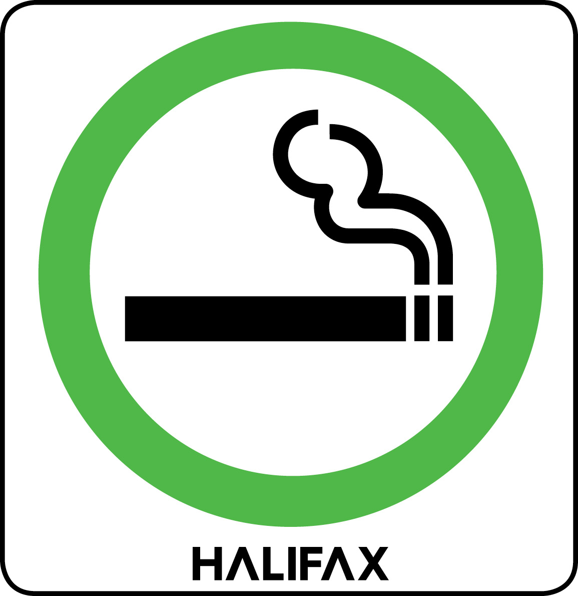A sign with a green circle and an icon of a smoking apparatus is shown
