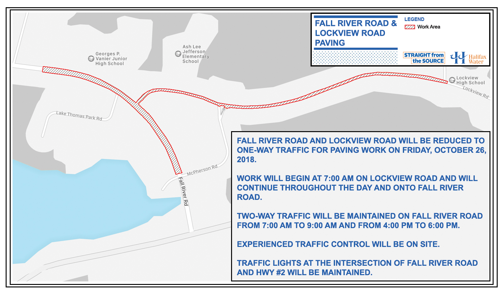 Map of the work area on Fall River Road and Lockview Road