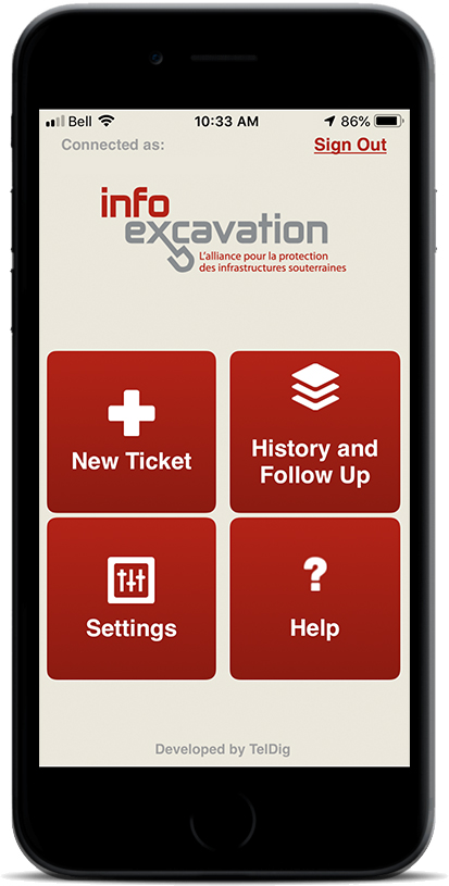Image of the Info-Excavation App on a smart phone.