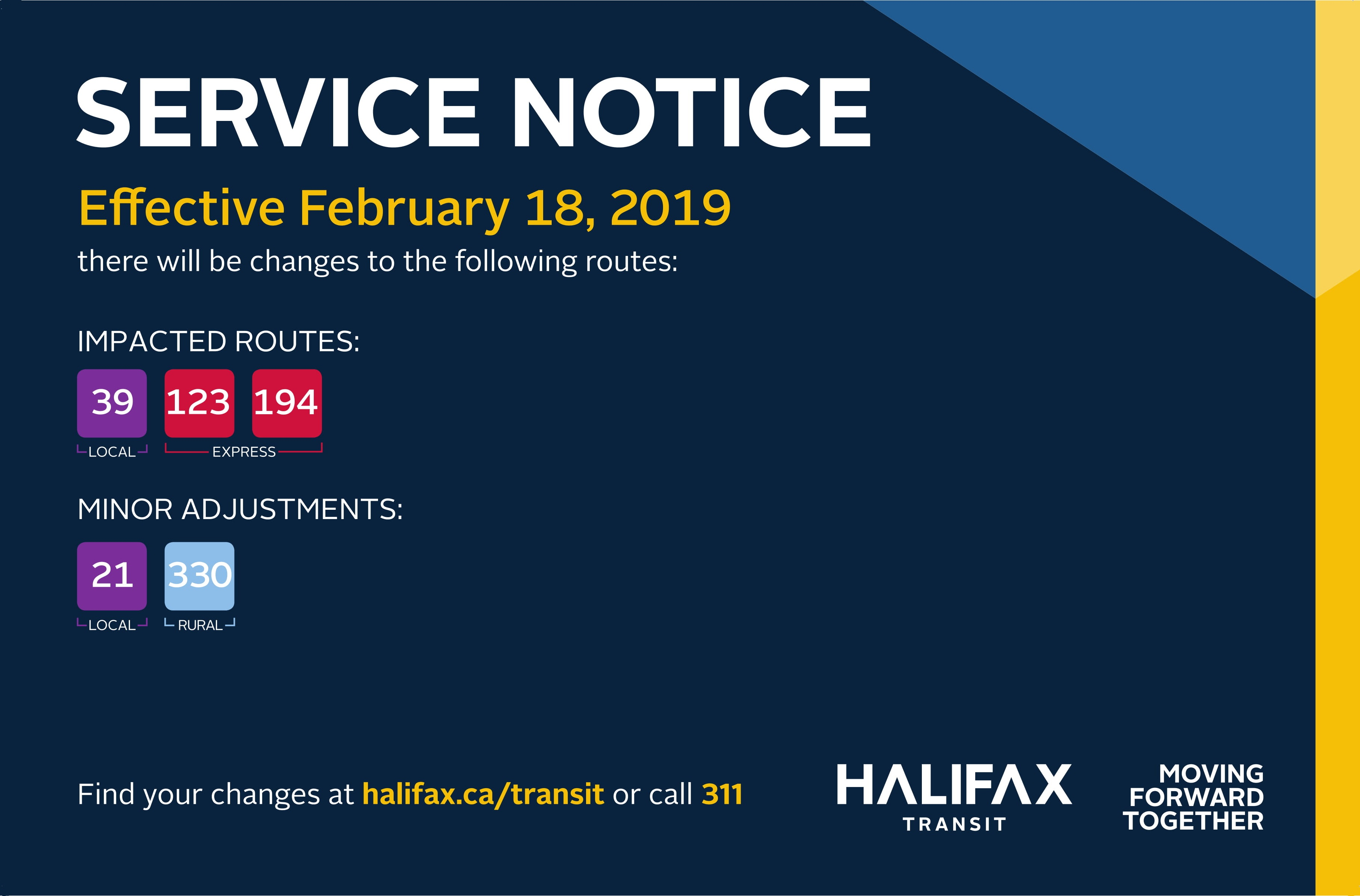 On February 18, 2019 there will be changes to routes 39, 123, 194, 21, and 330.
