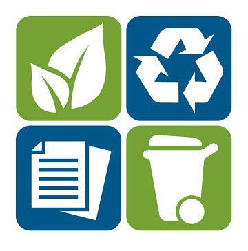 four icons, one showing a leaf, a recycling symbol, two sheets of paper, and an organics bin