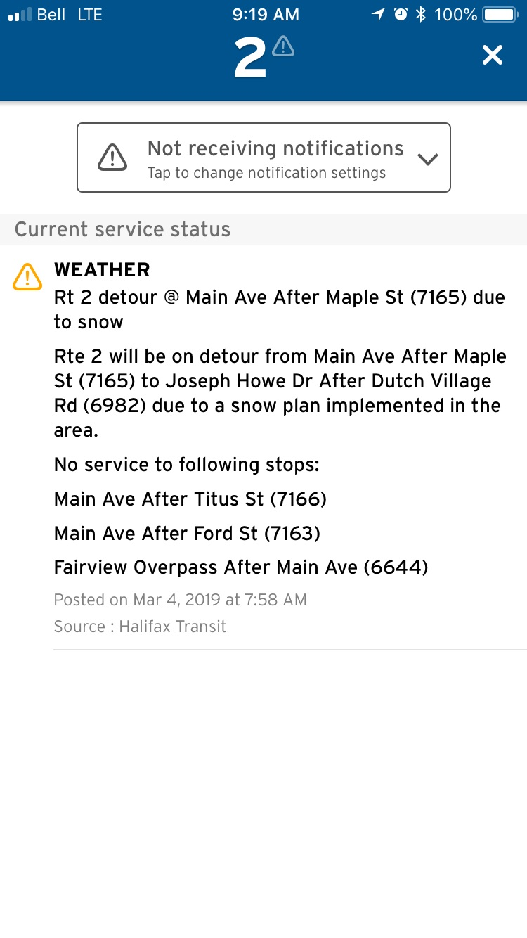 An example of the details within a service alert.