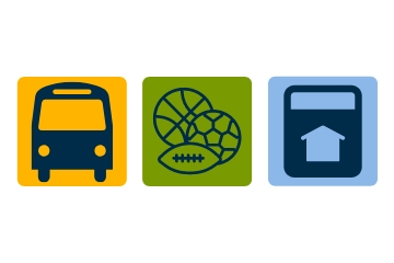 the logo for the affordable access program showing a bus, sports equipment and a house