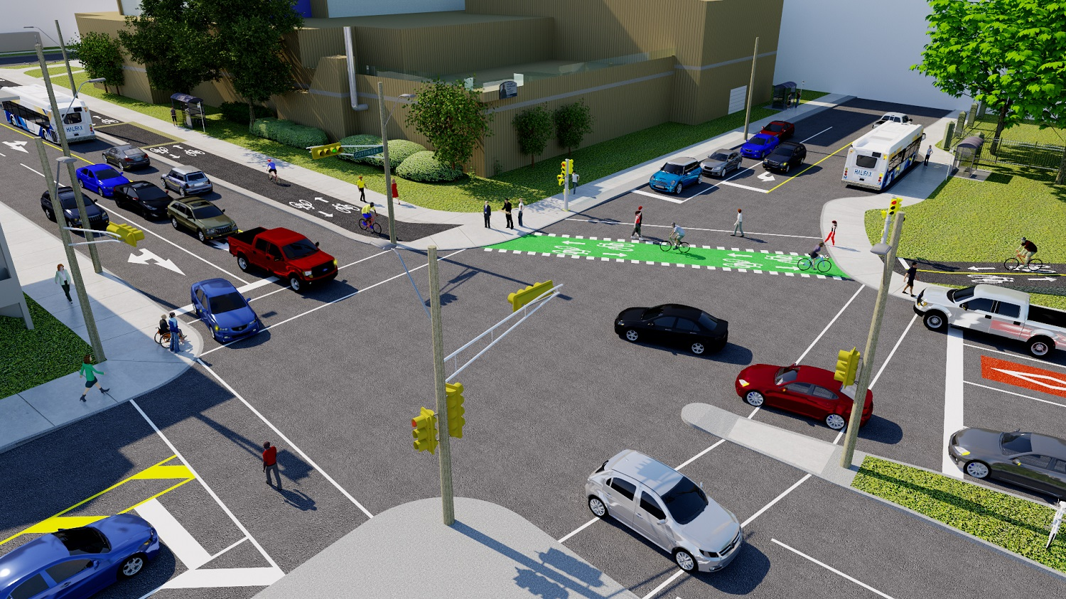 Rendering of the North and Gottingen intersection after implementation of the Bridge Bikeway Connectors project