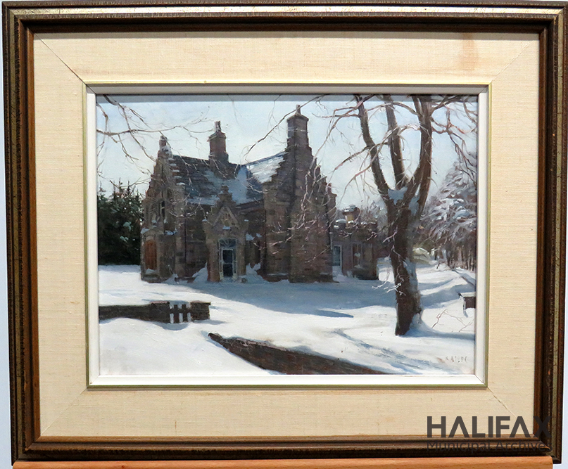 Colour photograph of an oil painting depicting an ornate stone building in winter