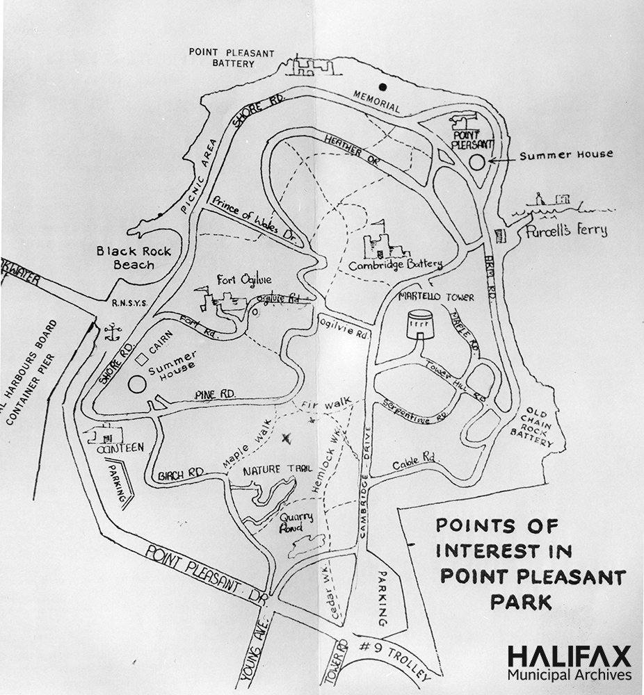 Black and white map of the park showing roads, patsh, and points of interest such as memorials and military fortifications