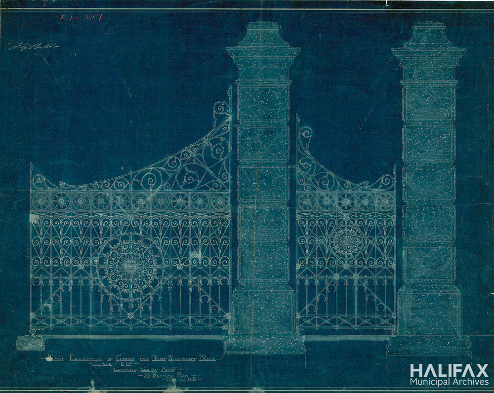 Image of a blueprint showing ornate park gates