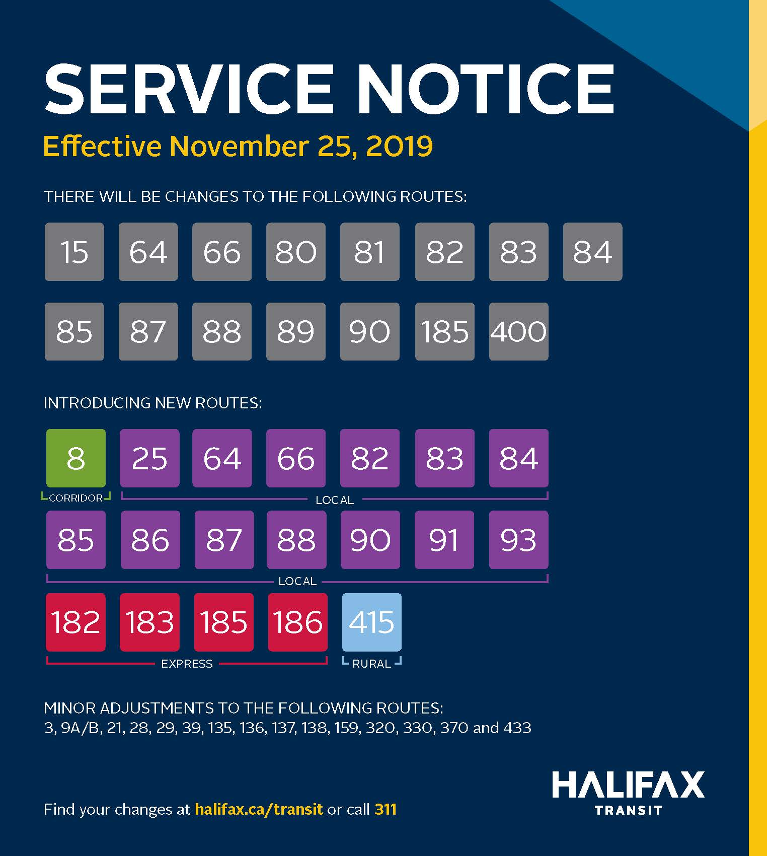 Graphic Outlining November 2019 Service Changes