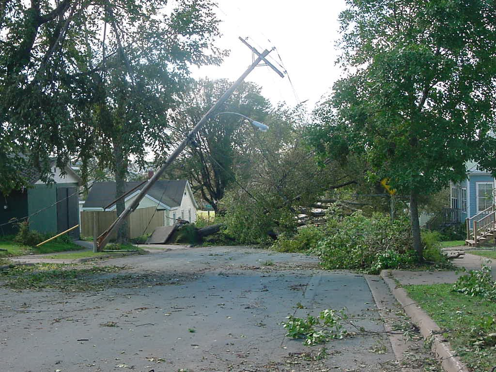 Powerlines down after hurricane Juan