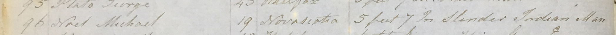 "Close up image of a ledger listing name, age, birth place, height, and the description ""slender indian man"""
