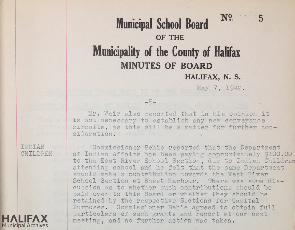 "Image of County School Board minutes from 1942 regarding ""Indian children"""
