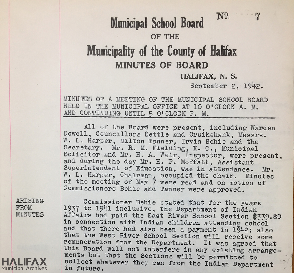 "Image of County School Board minutes from 1942 regarding material ""arising from minutes"""