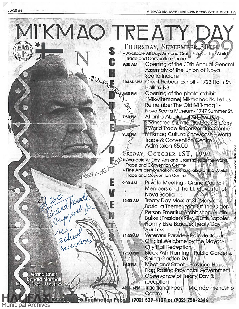 Image of a photocopy of a 1999 poster for Treaty Day celebrations